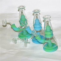 smoking recycler rigs silicone and glass water bongs pipes with 14mm 4mm thick quartz bangers nails Bubble Carb Caps