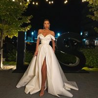 Платье A-Line выпускного вечера 2021 весенняя атлаша от плеча V-образным вырезом Высокая щель Длительное вечернее платье формальные Vestidos de Gala