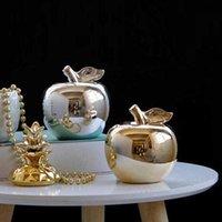 Nórdico cerámica oro plateado manzana modelo adornos decoración casero escultura arte moderno fruta figurillas estante de vino decoración de Navidad