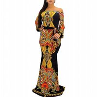 Ethnic Clothing Dashiki African Dresses Women Sexy Slash Neck Slim Robes 2021 Autumn Print Elegant Traditional Party Maxi Dress Vestidos