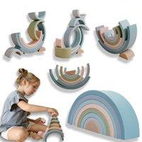 Baby Food Grade Silikon Spielzeug Montessori Rainbow Bausteine DIY Kreative Stapelbalance Spiel Pädagogisches Spielzeug für Kinder Geschenk H0824