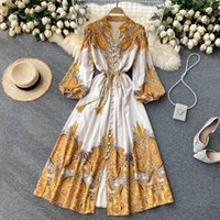Palace style dress new spring and summer women's retro printed puff sleeve slim long ladies dress skirt Dresses