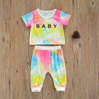 Clothing Sets Baby Girls Tie-dye Clothes Set, Letter Print Short Sleeve O-neck T-shirt + Elastic Waist Long Pants