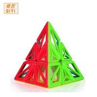 QIYI DNA 피라미드 큐브 스티커리스 3x3 매직 퍼즐 속도 큐브 전문 큐브 3x3x3 교육 완구 어린이 선물