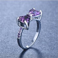 Silver Color Purple Bow Ring For Women Cute Cubic Zirconia Rings Fashion Jewelry Gift C3