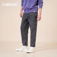 Simwood 2021 Primavera Inverno Novo Solto Calças De Jeans Cadeiras Homens Vintage Denim Calças Plus Size Preto Retro 100% Calças de Algodão SJ170767 210329
