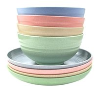 Wheat Straw Dinnerware Sets(8 Pcs),Reusable Bowls Plates For Kitchen 22 Oz And 8 In Plates,Lightweight Durable Sets