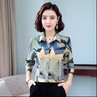 TingYiLi M 5XL Womens Shirts Plus Size Fashion Korean Style Long Sleeve Chiffon Blouse Vintage Floral Print Ladies Tops Boho