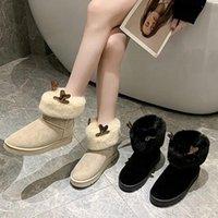 Bottes 2021 hiver neige coréenne Femmes Version des chaussures de coton antidérapantes Elk corne plus velours court