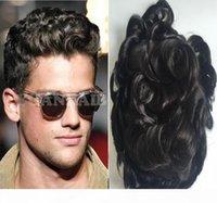 Frente de encaje del cabello natural Afro Curl Toupee ondulado PU completo PU Hombres Toupee Black Colo Hair Piel fina fina tupé de reemplazo de pelo para hombres