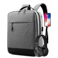 Rugzak Splashproof USB Charge Schooltassen met hoofdtelefoonaansluiting voor tiener Hoge capaciteit Laptop Zakelijke vrouwen en man