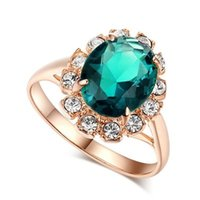 Cluster Rings Classic Emerald For Women Wedding Engagement Ring Rose Gold Zircon Diamond Fashion Gemstone Sapphire Fine Jewelry