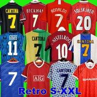 최종 레트로 유나이티드 2002 축구 유니폼 남자 UTD 축구 Giggs Scholes Beckham Ronaldo Cantona Solskjaer Manchester Robson 07 08 09 98 99 90 92 94 96 86 88 Nistelrooy Cole