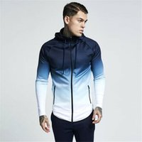 Men's Hoodies & Sweatshirts Mens Fitness Sport Hoodie With Pockets Full Zip Up Hooded Shirts Gym Workout Top