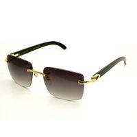 Quadrado Marca Designer Óculos de Sol Homens Carter Óculos Mulheres Rimless Buffalo Chifre Óculos Mens Vintage Sunglass Eyewear Mens 012