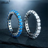 Wedding Rings Blaike Silver Color For Women White Blue Opal Ring Engagement Jewelry Birthday Gifts