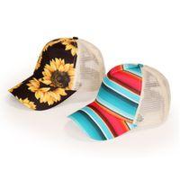 Women Sunflower Baseball Cap Striped Mesh Cross Hallow Out Hats High Messy Buns Trucker Pony Caps Girls Dad Hat W0269