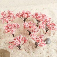 Garden Decorations 20pcs 6.4cm Sakura Tree Models Flowering Cherry Plant Model Railway Layout Yard Outdoor Scene Decoration