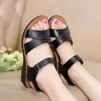 sandals Summer women's shoes cowhide mother's Velcro soft soles middle-aged and elderly flat grandma's