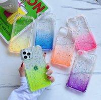 Epoxy glitter gradient transparent TPU PC phone cases for iphone13 pro max 12 min 11 X XR XS 7 8 plus SE case cover