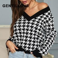 Women's Sweaters Gentillove Elegant V Neck Loose Pullover Fashion Houndstooth Knitted Sweater Winter Vintage Tops Casual Minimalist Wild Jum
