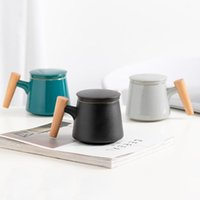 Mugs 300ml High Quality Ceramic Mug Office Cup Tea With Lid Filter Wooden Handle Separation