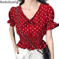 Blusas de mujer Camisas de manga larga con cuello en V arco lindo Dot Frill volantes Vendaje Blusa de gasa Mujer Moda Cultivo Top Tapa coreana coreana Slim