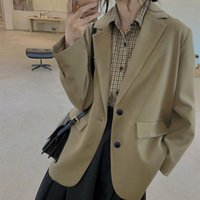 Women's Wool & Blends jackets and blazers suit for spring, casual black khaki jacket big office size large women, spring 0MUH