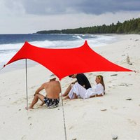 Tents And Shelters Portable Camping Pergola Outdoor Windproof Beach Tent Sunshade Gazebo L 300*300*200cm With Sand Anchors Ultralight Tarp
