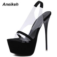 Aneikeh 2021 Fashion 16 CM Platform High Heels Sandals Summer Sexy Slip-On Open Toe Gladiator Party Thin Women Shoes