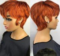 오렌지 생강 컬러 가발 짧은 물결 모양의 밥 pixie 잘라 가득 차있는 기계는 흑인 여성용 브라질에 대 한 강제로 레이스 인간의 머리 가발