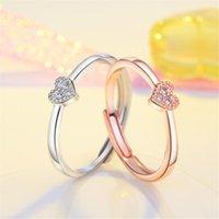 Simples Coração Anel para Mulheres Fêmea Cute dedo Anéis Romântico Presente Aniversário Namorada Moda Zircon Pedra Jóias Casamento