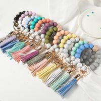 14 cores de madeira tassel bead cordas pulseira keychain grau de alimento grânulos de silicone braceletes mulheres menina chaveiro anel pulseira pulseira