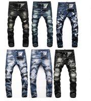 Мужская Знак разрывается растягивающие черные мужчины Джинсы мода Slim Fit Промытый мотоцикл джинсовые брюки панельные брюки брюки Hip Hop Джинсы # 001