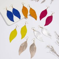 Fashion Leather Dangle Earring Womens Angle Wings Hoop Earrings Wedding Party Jewelry Gift DFF4659