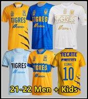 Liga MX 2021 2022 Tigres Uanl Soccer Jerseys Home Away Thaufin Gignac Nico Lopez 21 22 L.Fernandez Pizarro Football Shirts Maillot de pied Thaïlande