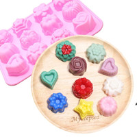 Silicone Baking Moulds Flip Sugar mold Flower Shaped Cake Muffin Cups Candy Molds DIY Chocolate biscuit 12 different shapes HWA5563