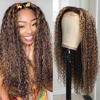 Ombre Highlight Courly Lace Front Perücke Vorgepuckte Glueless Human Hair Mongolian Sassy Curl 13x4 Frontal Für Frauen Perücken