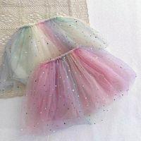 Saias Baby Meninas Tutu Tutu Crianças Roupas Crianças desgaste Arco-íris Vestido Lantejoula Princesa B5145