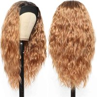Ombre Blonde Long Wavy Headband Heat Resistant Synthetic Hair Machine Made Wig 20-26 inch