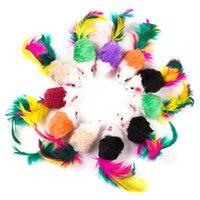 Jouets de chat petit animal de compagnie couleur plume queue de plume de 2 pouces souris et d'artefacts d'artefacts durables résistants à la morsure interactive