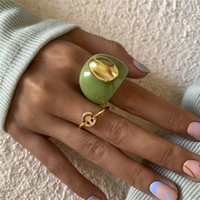 Europe Retro Wide Smiling Face Finger Ring Geometric Acrylic Hollow Out Alloy Rings Women Ellipse Party Gift Punk Hand Jewelry Sets Accessories Wholesale