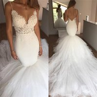 Sexy Spaghetti Mermaid Bridal Gowns Appliqued Lace Summer Sleeveless Boho Backless Wedding Dresses Court Train Satin Ruched Tulle Beach Vestido de noiva