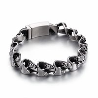 210mm Punk Skull Charm Bracelets For Men Stainless Steel Link Chain Bracelet & Bangle Male Rock Drop Jewelry Link,