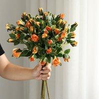 Decorative Flowers & Wreaths Artificial Simple 7 Heads Bouquet Rose Silk High End Wedding Party Bride Home Table Plant Decoration Single Bra