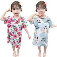소녀의 드레스 80-110 유아 키즈 아기 소녀 꽃 만화 드레스 공주 잠옷 옷 어린이 의류