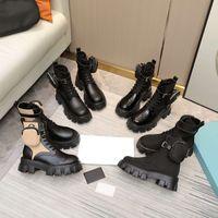 Mujeres Monolith Fur Boot Nylon Boots Rois Cuero Tobillo Combate con bolsa de batalla de Fashion Battle Suela de goma Tamaño de la plataforma 45