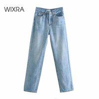Wixra alta cintura longa jeans mulheres moda streetwear botão casual femme sólido azul denim calças mulheres