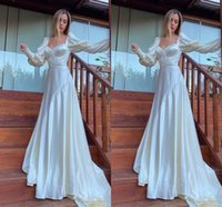 Elegant Satin A-Line Wedding Dresses Long Sleeves Bridal Gowns Sweep Train Sweetheart Garden Robe de Mariee