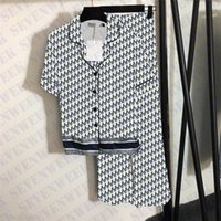 Tam Mektup Baskı Bayan Pijama Setleri Pijama İpeksi Saten Bayanlar Pijama Yüksek Bel Elastik Pantolon Kısa Kollu Gömlek Iki Parçası